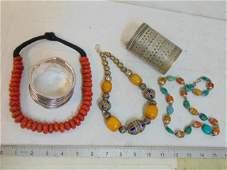 Lot ethnic jewelry, silver bracelet, silver toned