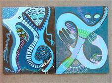 2 paintings, Louise Abrams, Outsider Art Collection,