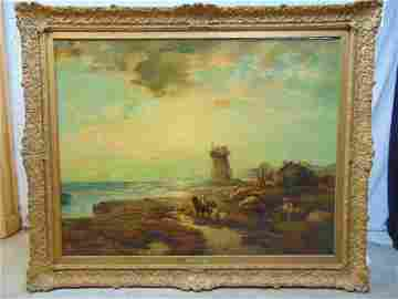 "Edward Moran oil painting, ""U.S. Coast Guard"", oil on"