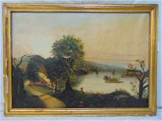 American School, Painting, oil on canvas, view of Lake