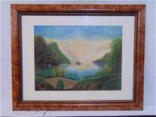 American School, pastel on paper, view of Hudson River