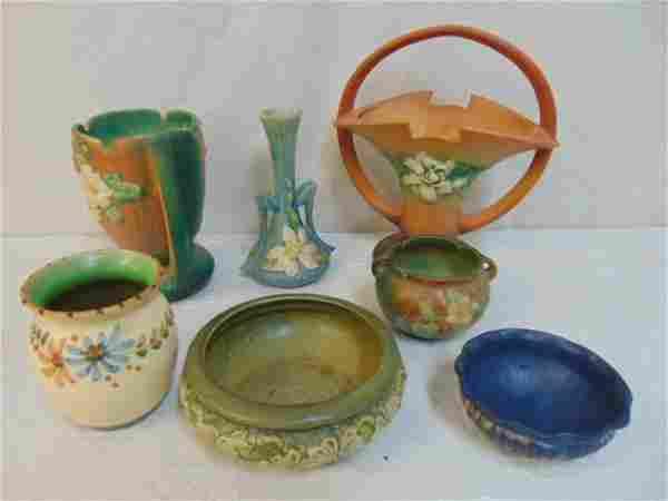 7 pieces Roseville & Weller art pottery
