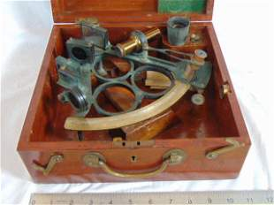 Brass sextant, Hayes Brothers, Cardiff Barry & Port