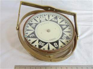 """Large overhead 10"""" dial ships compass, A.A. & C.L."""