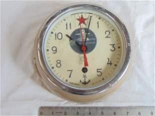 Russian, Soviet submarine clock, painted case, dial