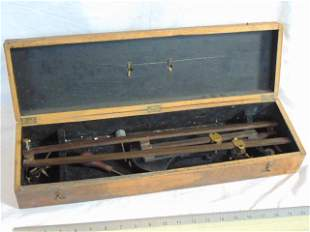 Pantograph, wood (ebony ?) with various brass
