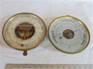 2 Barometers, 1)Barometer, Aneroid, Brass Standing,