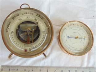 2 barometers, 1)Barometer, Aneroid,Brass Hanging Short