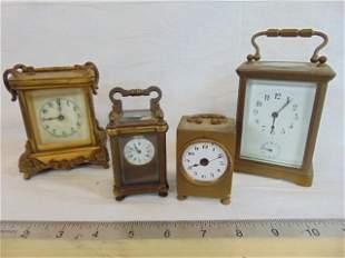 4 brass carriage clocks, Waterbury Clock co, French
