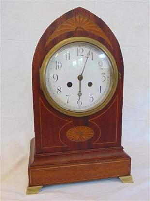 H&H French Beehive Inlaid mantle clock, various woods,