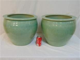 Pair large Celadon planters, crackle green, each