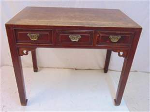 """Chinese triple drawer writing table, top is 38.5"""" by"""