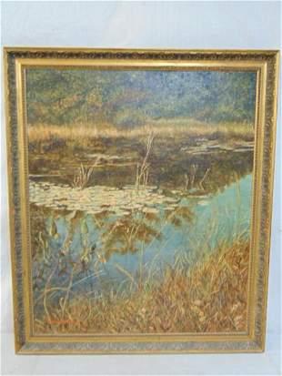 Painting, G.S. Vander Poel, Lily Pad Pondscape, Signed.
