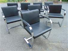 Set 8 Brno chairs, for Knoll, in black leather with