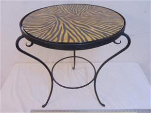 Porcelain top iron base table, purportedly from QEII,