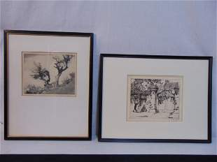 Two etchings, Lyman Byxbe & Alfred Hutty (American),