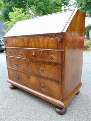 Queen Anne walnut bureau, slant front desk, early 18th