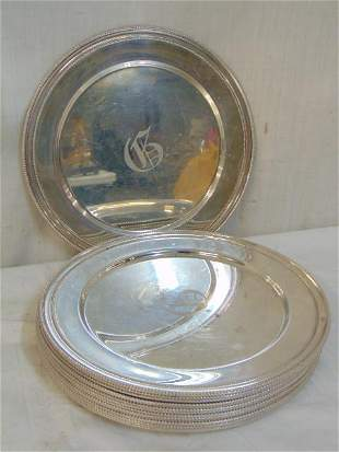 Lot sterling silver trays, plates, 16 pieces, total