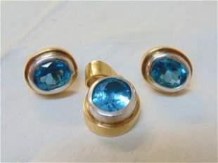 Blue Topaz 14K gold earrings & pendant, custom made.