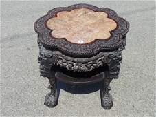 Chinese Ebonized Teak Wood Ornately Carved Stand, 19th