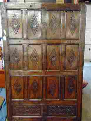 Spanish colonial carved wood panel, 12 diamond pattern