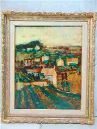 Painting, houses, town, by Donald Purdy, oil on