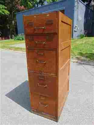 vintage Oak file cabinet, Globe-Wernicke, 5 drawer, two