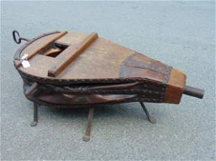 Large forge bellows, leather, oak & iron, bellows are