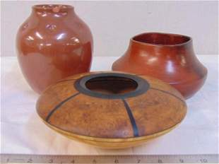 Pottery, wood bowl, Navajo pottery vase signed Susie