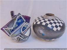 2 Contemporary pottery vases, including a Glazed