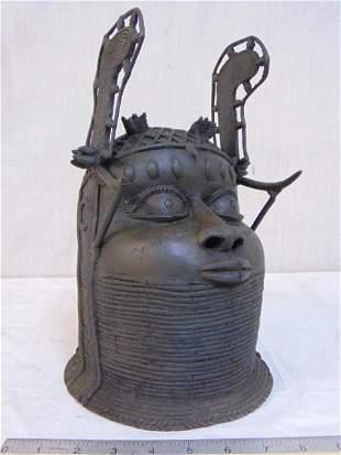 "Benin Nigeria Bronze Head of an Obi. Height 13"""