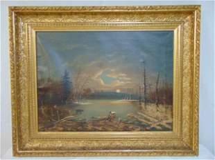 Painting, bear on frozen lake, nocturnal folksy scene,