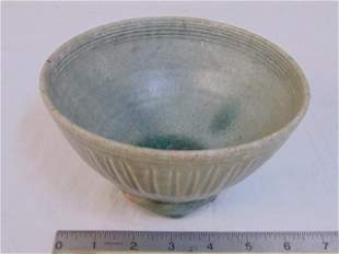 Antique Chinese bowl, terracotta with green drip glaze,