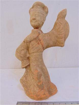 Early Chinese terracotta figure, dancing woman, old