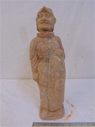 Early Chinese terracotta figure / warrior holding