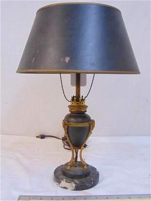 Bronze lamp on marble base, hoof feet, gilt detail,