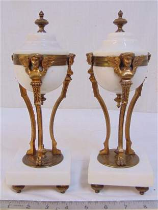 Pair marble, bronze mounted garnitures, urn shaped with