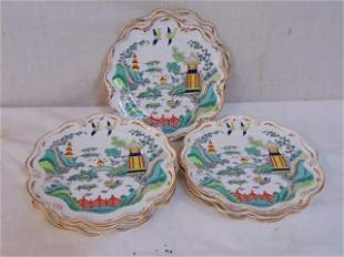 """Set 11 Chinois plates by Coalport, """"Chinese Willow"""","""