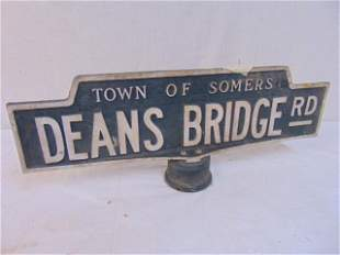 """Town of Somers NY street sign, """"Deans Bridge Rd"""""""