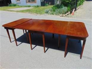 Three part custom Hepplewhite dining table, drop leaf