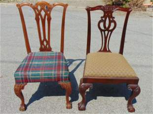 2 Chippendale side chairs, Chippendale Mahogany Carved