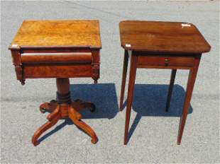 2 antique stands, Federal Maple & Mahogany Carved