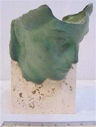 Bronze. Mask of a Woman, Signed Barger Roma on Marble