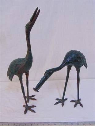 Pair Vintage Painted Cast Iron Garden Cranes.