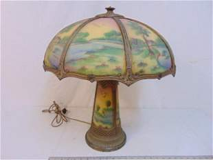 Table lamp with reverse painted shade & base