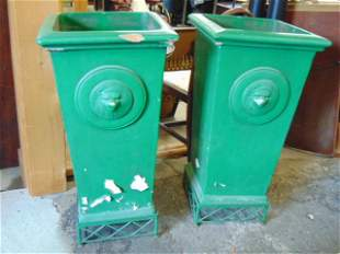 Pair green terra cotta brick planters from old Brooklyn