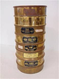 Brass sieve set, 9 piece, lid, catch pan and 7 sieves,
