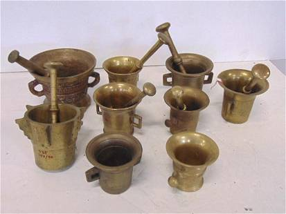 Brass Apothecary Mortar and Pestle sets- 9 Mortars, 7