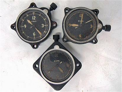 3 WWII Airplane Clocks, Lecoultre, At Full Wind, Not