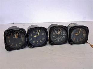 4 Airplane Altimeters, Kollsman M. C-11, Bullava B-11,